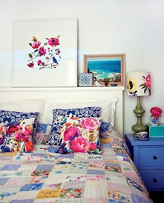 Blues, pinks, turquoise - similar to the colors in Lily Asbury's Summer House, but without the kiwi.: Colour, Selina Lakes, Pattern, Blue, Color, Apartment Therapy, Bedside Tables, Floral Bedrooms, Guest Rooms