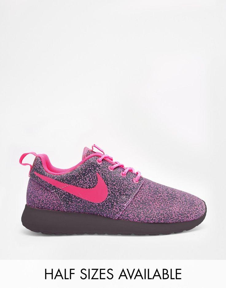 nike purple two tone roshe run print trainers
