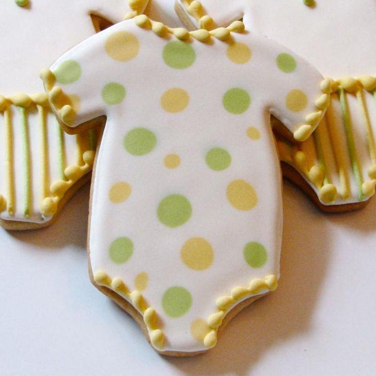 baby shower onesie dotty cookies cute!