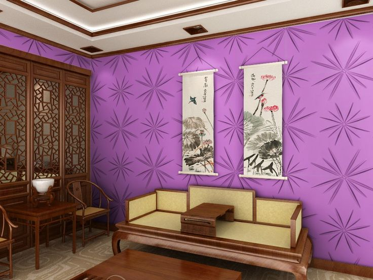 Living Room Decor. Asian Style Living Room with Star Purple Wall Decoration…