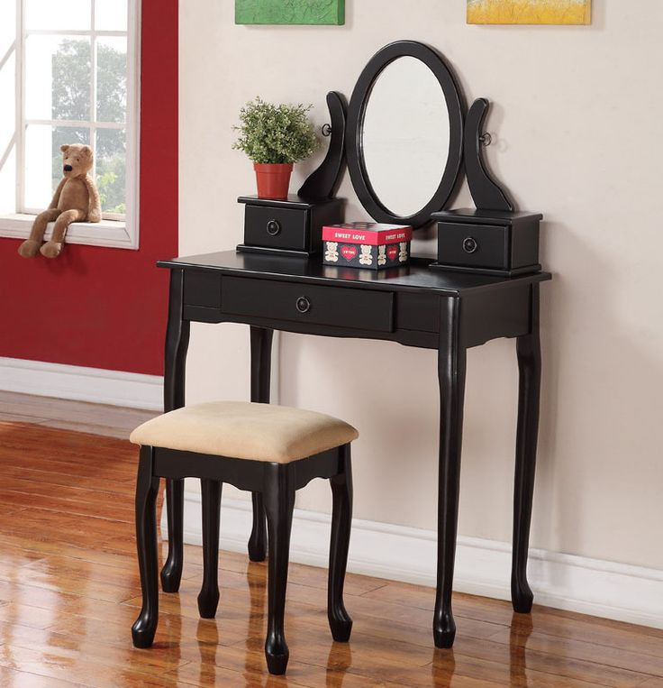 Olivia Espresso Trifold Mirror Vanity Table SetBest 25 Black Vanity Table  Ideas On Pinterest Black Makeup