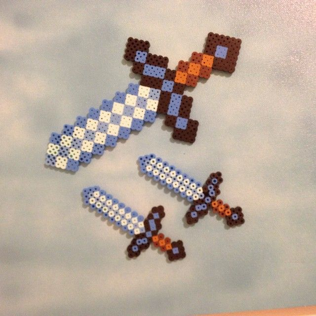 Minecraft swords. #perlerbeads #evbeadsprites #minecraft