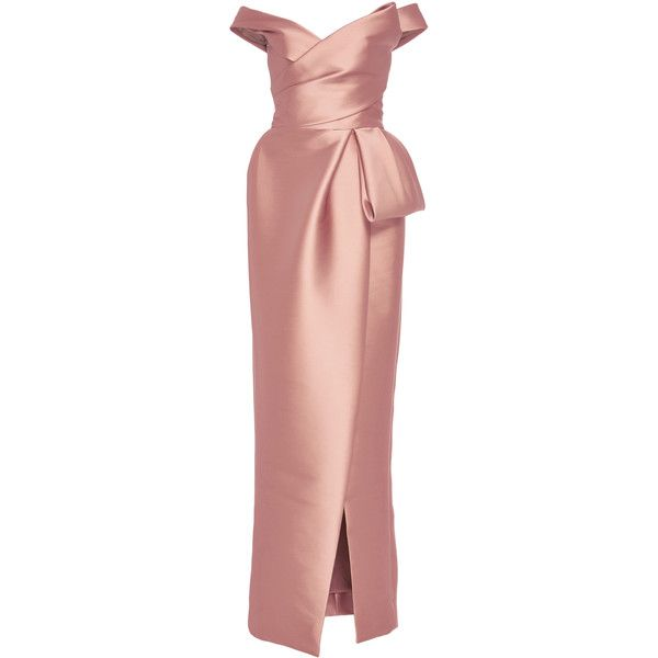 Monique Lhuillier     Off the Shoulder Tulip Gown (£3,240) ❤ liked on Polyvore featuring dresses, gowns, monique lhuillier, evening gown, long dress, pink, red wrap dress, red off shoulder dress, red ball gown and full length gowns