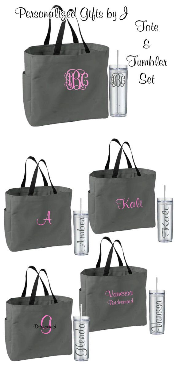 8 Personalized Bridesmaid Tote Bags and by PersonalizedGiftsbyJ