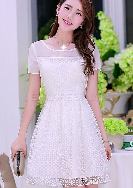 Preppy Style Short Sleeves  Casual Dresses  1
