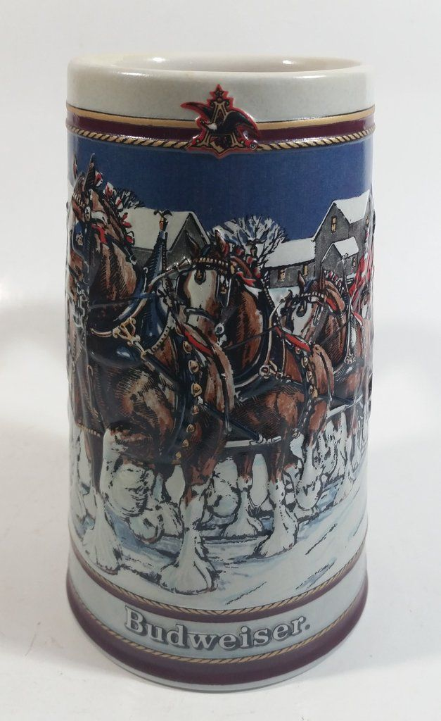 2 Vintage Budweiser Clydesdale rock drink glass Holiday Winter Collectible 1989