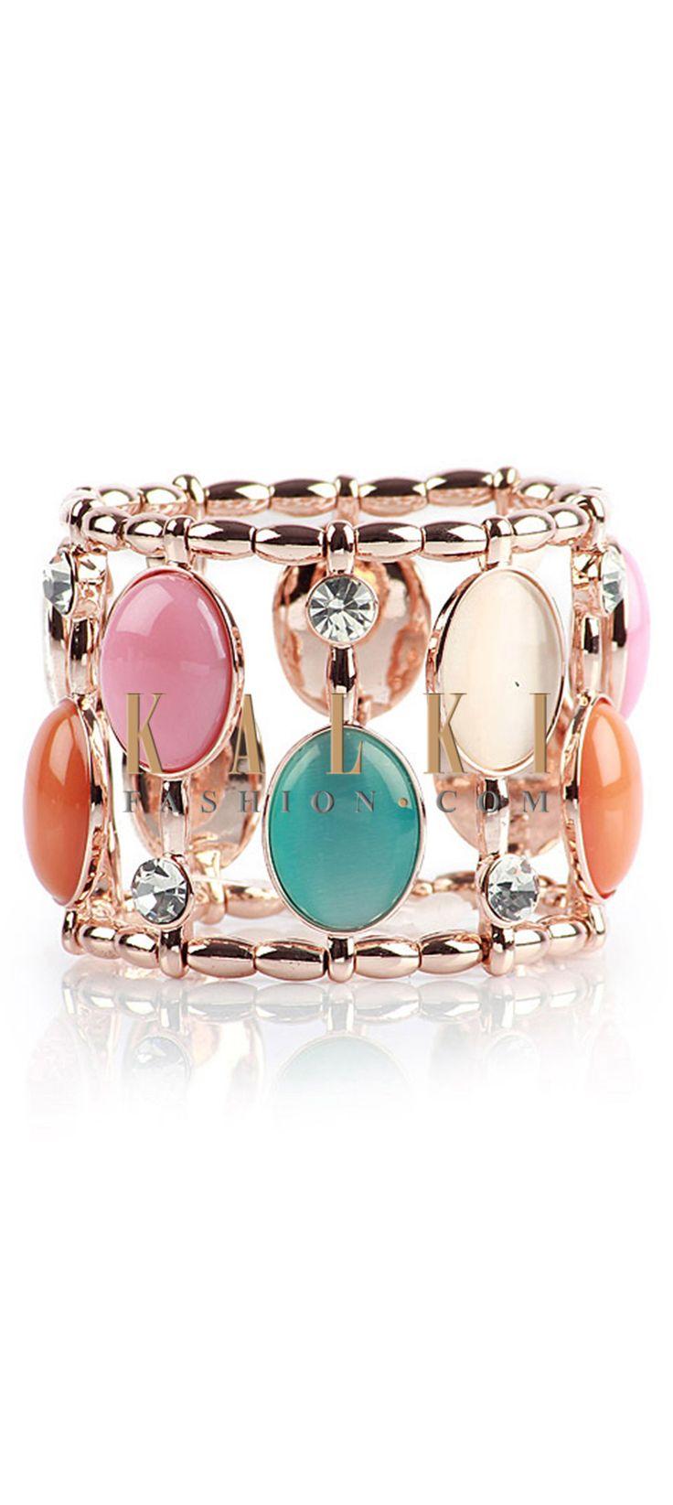 Buy Online from the link below http://www.kalkifashion.com/multi-coloured-high-shine-bracelet.html