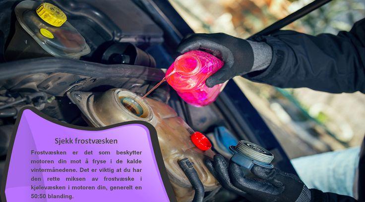 Sjekk frostvæsken Bruk en frostvæske-tester for å ta ut noen få dråper med frostvæske fra radiatoren eller frostvæske som har rent over. Dette vil gi informasjon om det nåværende frysepunktet for din bils frostvæske. Sjekk den normalt laveste temperaturen for ditt område, og fyll på mer frostvæske etter behov for å sikre at motorblokken ikke fryser. #vinterdekk