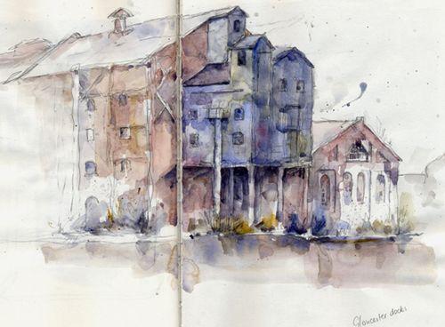 At Gloucester Docks, Watercolour, Kathy Lewis
