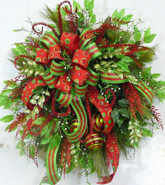 """Christmas Wreaths For Double Front Doors: CHRISTMAS DOOR WREATH, """"Modern Christmas"""" With Double Bow"""