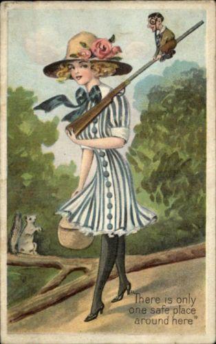 Pretty Woman Walking w Tiny Man on Rifle Fantays Embossed c1910 Postcard | eBay #Giantess #RetroGiantess