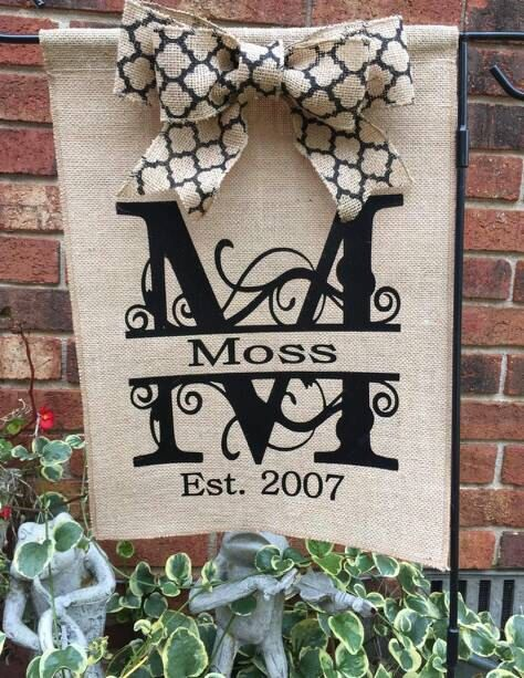A personal favorite from my Etsy shop https://www.etsy.com/listing/256949192/burlap-garden-flag-with-bow-includes