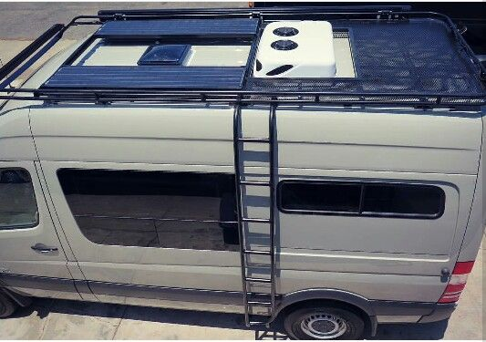 Aluminess roof rack on a Mercedes Sprinter van from El Kapitan