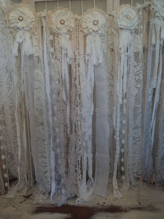 Fabric Vintage Lace Banner Wedding Pearl Garland Shabby Chic Boho Rag Tie Prop (from ebay: speckled*pup*prims):