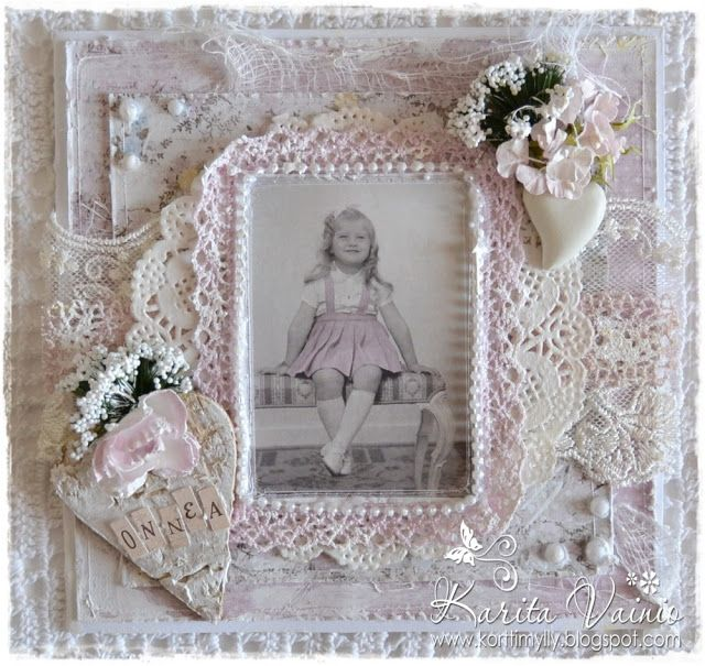 Card created by LLC DT member Karita Vainio, using both image and papers from Maja Design's Vintage Spring Basics Collection.