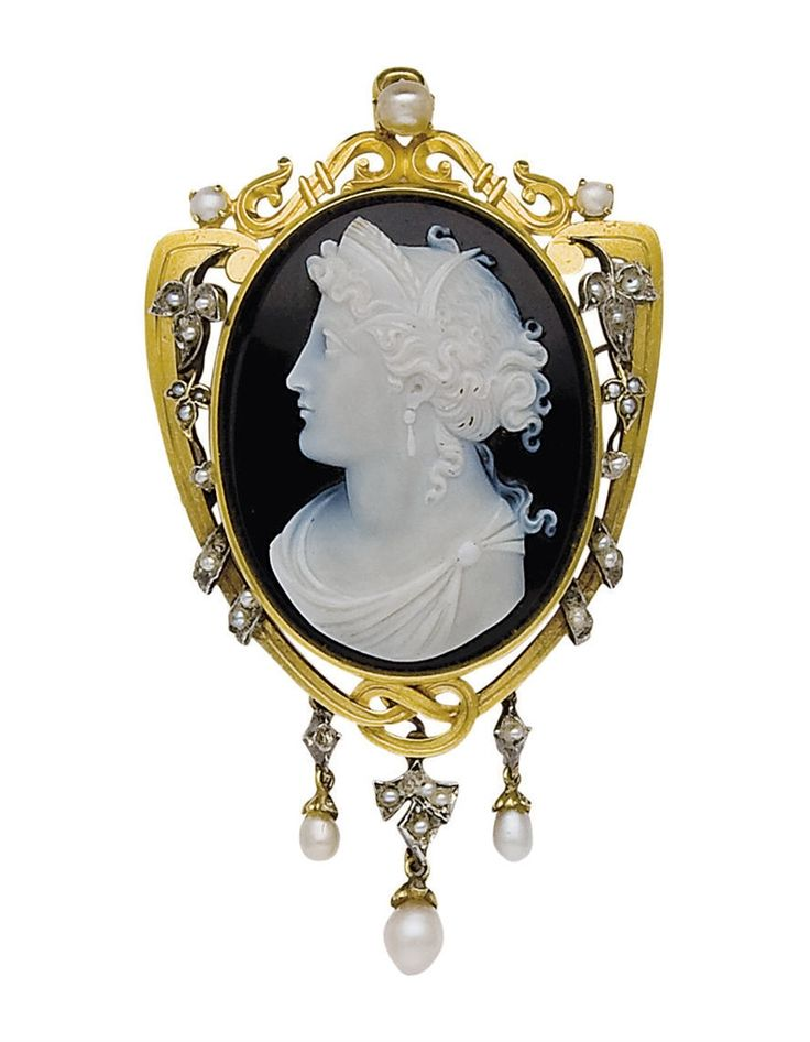 Black white cameo onyx cameo 96 an antique agate pearl silver and gold cameo pendantbrooch 19th century mozeypictures Choice Image