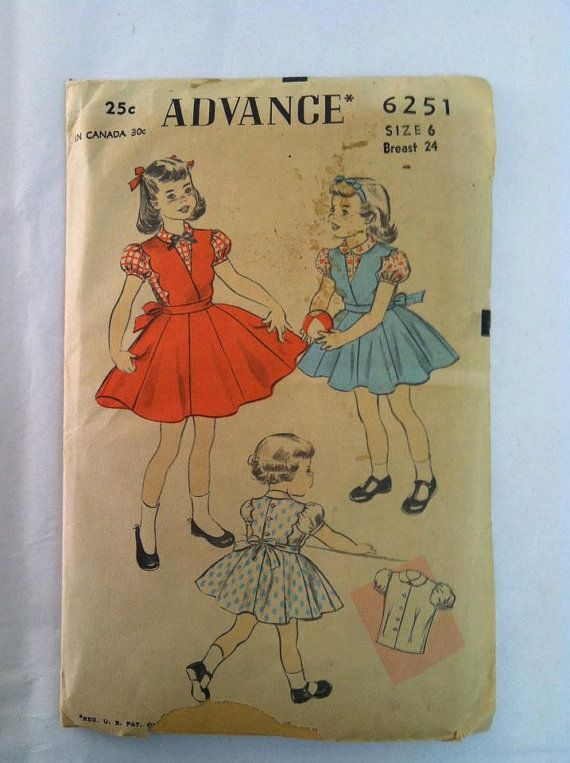 Advance 6251 1950s Unprinted Pattern Kids Girls Blouse and Jumper 1950s 50s Size 6