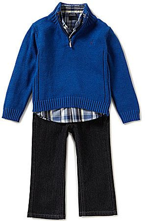 Nautica Little Boys 2T-4T Quarter-Zip Sweater, Woven Shirt, and Denim Jeans Set