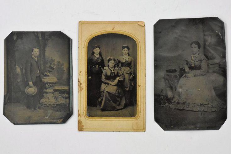 3 tintype photos assorted