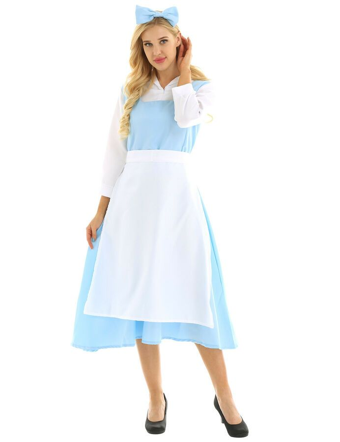 Women Adult Maid Cosplay Costume Uniform Outfit Fancy Dress Long Apron Maxi Dres