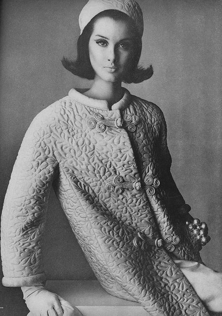 Hair, hat, and coat--all fabulous. Wish we could see more of the bracelet. March Vogue 1964, via Flickr.