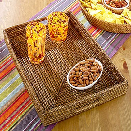 Rattan Tray serves as tropical serveware (World Market).