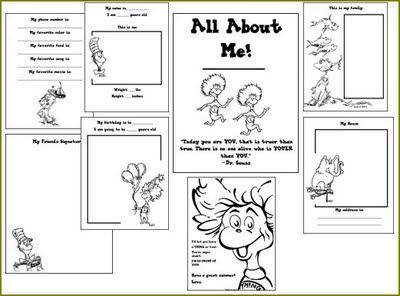 Dr. Seuss all about me free printable