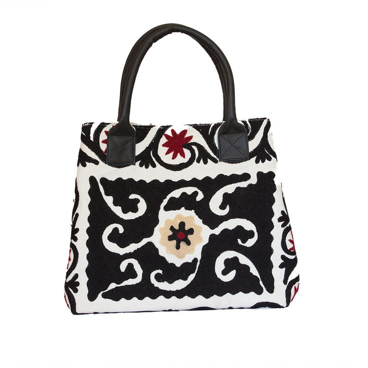 Hand Embroidered Floral Handbag - Black & White | The Hues of India