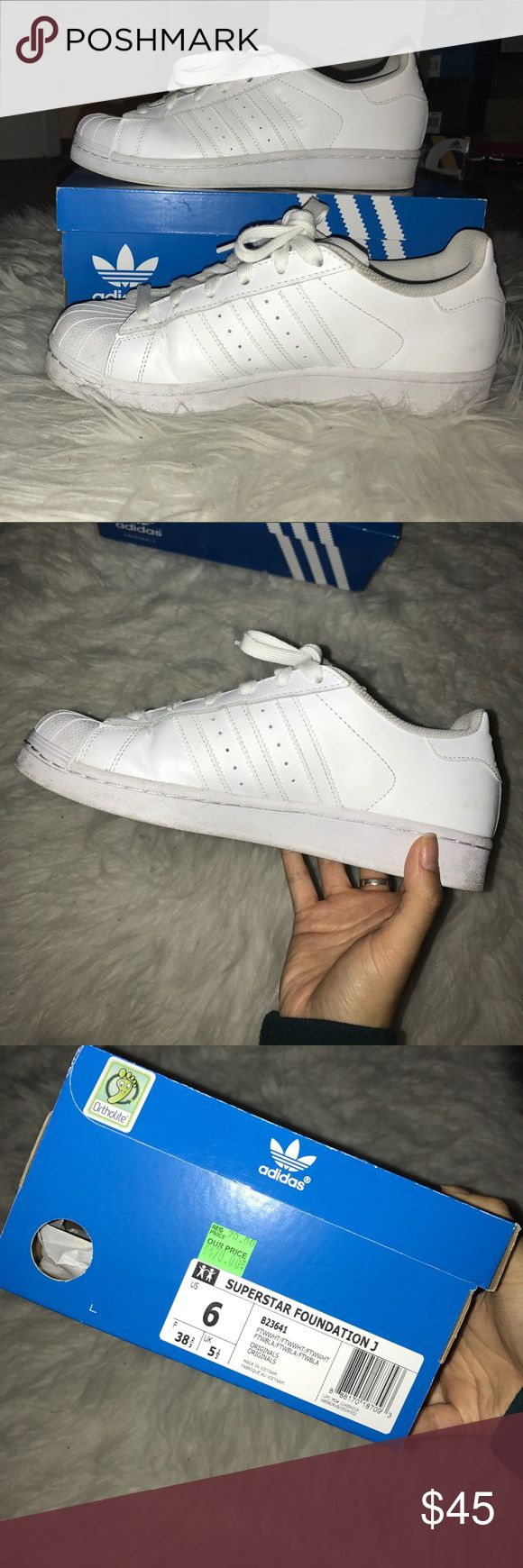 Adidas superstars Barely worn adidas all white superstars. Still have the box. adidas Shoes Sneakers
