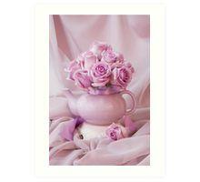 Art Print.  #roses #pinkroses #lavenderpinkroses #pinkrosesstillliferoses #stillliferoses #rosesandteapot #teapotart #teapot #teatime #holidaygifts #floralhomedecor #victoriamagazinestyle #romantichomesstyle #floralhappiness  #floralloveliness #sandrafoster