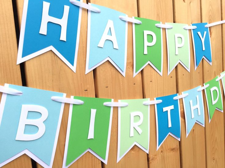 Custom blue and green happy birthday banner, Birthday Banner, Happy Birthday…