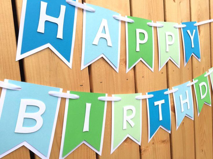 Custom blue and green happy birthday banner, Birthday Banner, Happy Birthday…