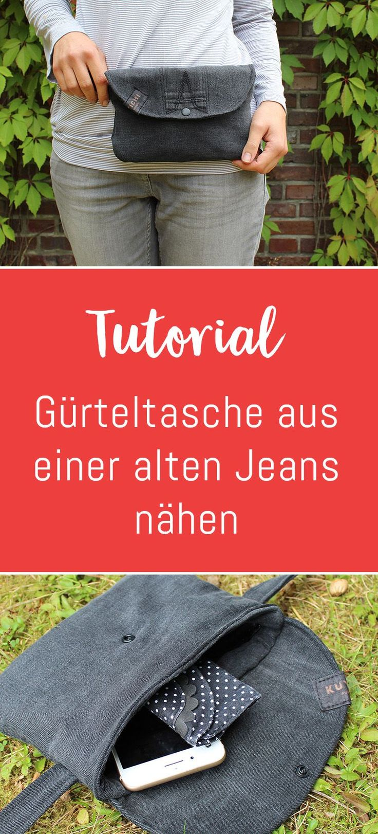 Upcycling project: sewing a belt bag from an old jeans
