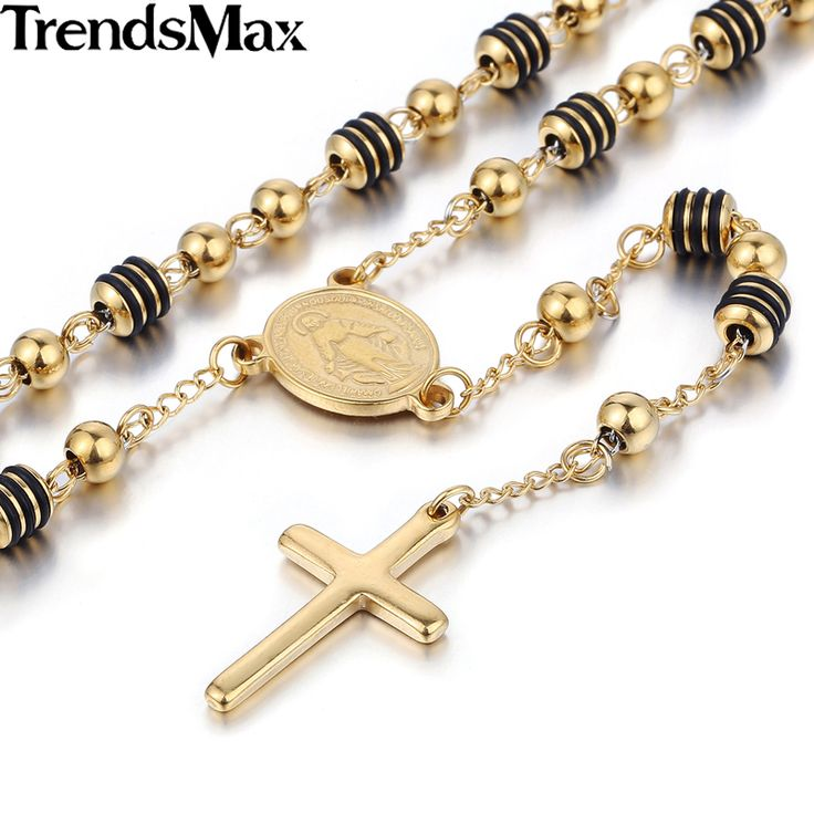 Trendsmax rvs bead chain jezus christus kruis hanger rozenkrans ketting womens unisex sieraden kn434-kn441