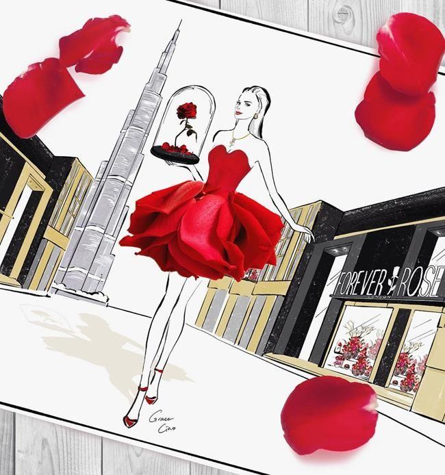 Çiçeklerin Gücü Adına: Çiçekli Moda İllüstrasyonları ile Kadın Elbiseleri - Grace Ciao Sanatlı Bi Blog 27
