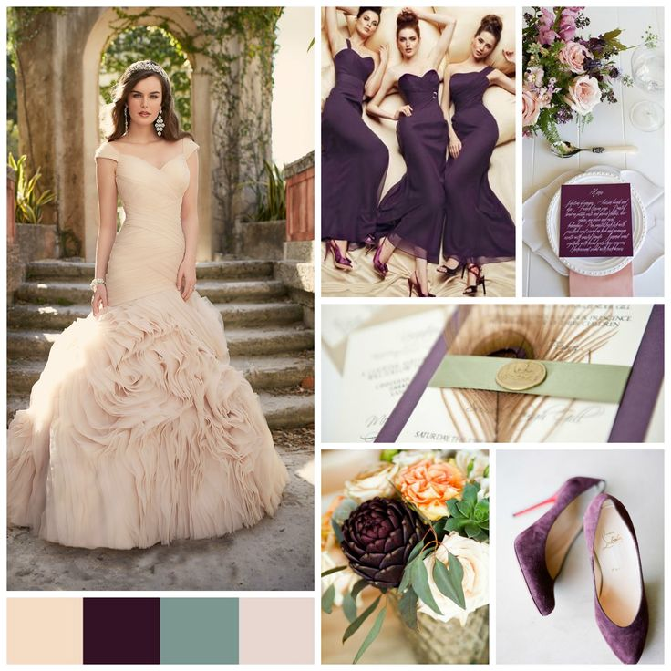 Jackie Fo Champagne Blush And Gold Wedding Inspiration: Eggplant Wedding Palette (champagne, Eggplant, Sage, Blush