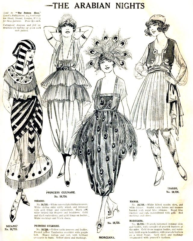 1920s Egyptian Revival Halloween costumes, inspired by The Arabian Nights