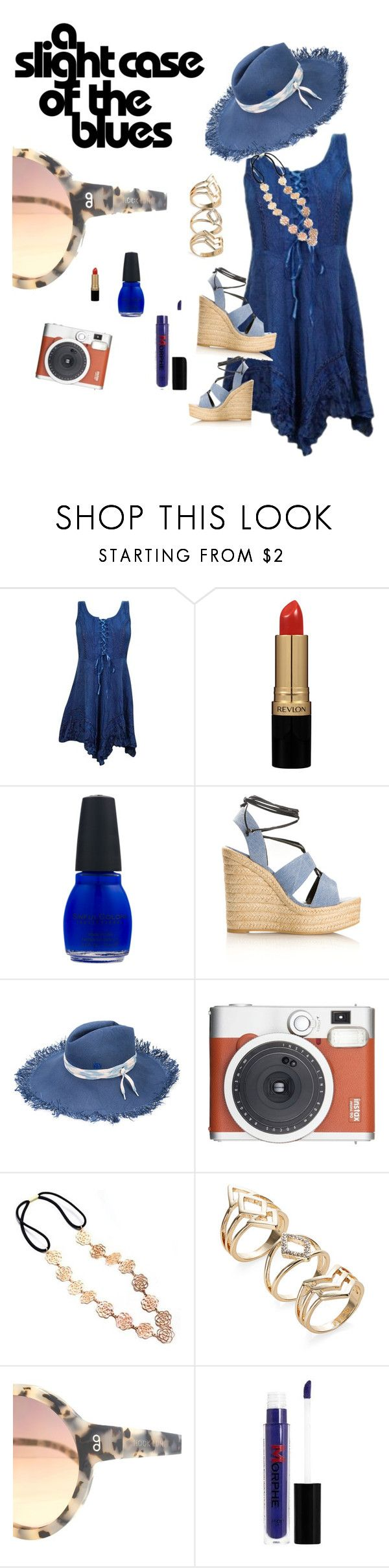 """""""blue"""" by maryluvsshoes on Polyvore featuring Revlon, Yves Saint Laurent, Maison Michel, Fuji, HOOK LDN and Morphe"""