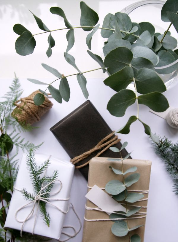 Natural gift wrapping using foliage and jute twine.