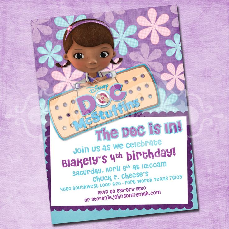 498 best doc mcstuffins party images on pinterest | birthday party, Party invitations