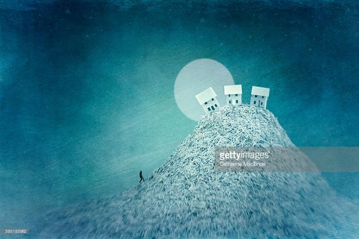 Paper art and digital drawing of a lone figure starting their journey home up a steep hill, in the light of the full moon, May 2013