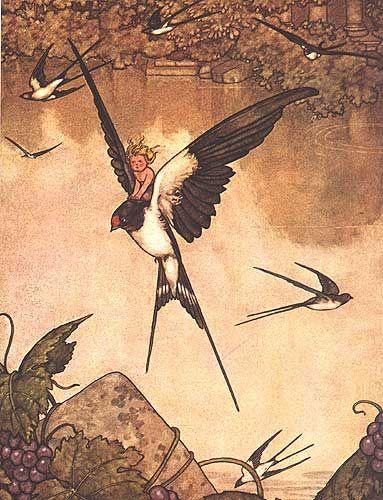 W. Heath. Robinson's Thumbelina for Hans Andersen's Fairy Tales 1913