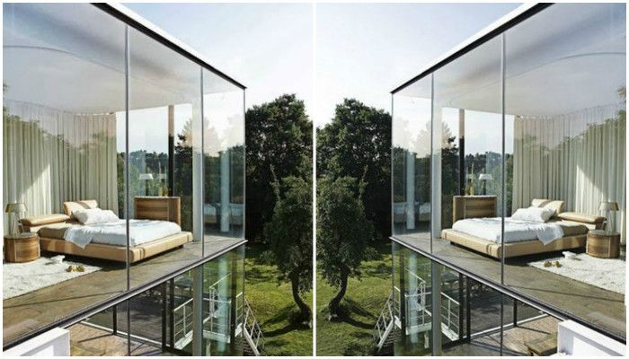 Стеклянные стены дома в интерьере, идеи фото