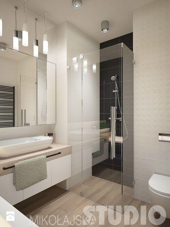 TAK! kolorystyka, dobre (jasne) oświetlenie - punktowe i dekoracyjne, wydzielona ściana prysznica, płytka drewno-podobna na podłodze, glazura 3D