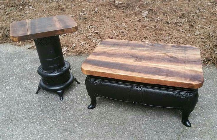 Re Purposed Cast Iron Stove Kerosene Heater W Cedar Wood Coffee Side Table Whiskey Tango