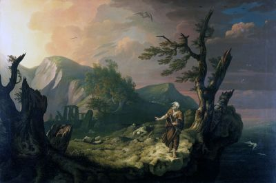 Romanticism - Thomas Jones, The Bard, 1774, a prophetic combination of Romanticism and nationalism by the Welsh artist.