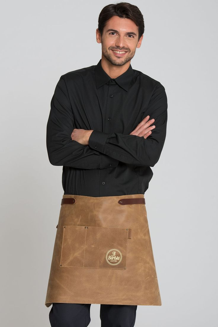 Jacksonville Leather Apron >>  This handmade hip apron made of 100% cowskin is an absolute eye-catcher. The robust apron is especially suitable for outdoor and BBQ-cooking, at promotions and in crafts and trades. However, as a trendy accessory this model also looks great in gastronomy, service and sales. A belt that is adjustable in width ensures perfect fit. A sewn-on pocket with decorative rivets adds to the rustic style of this apron.