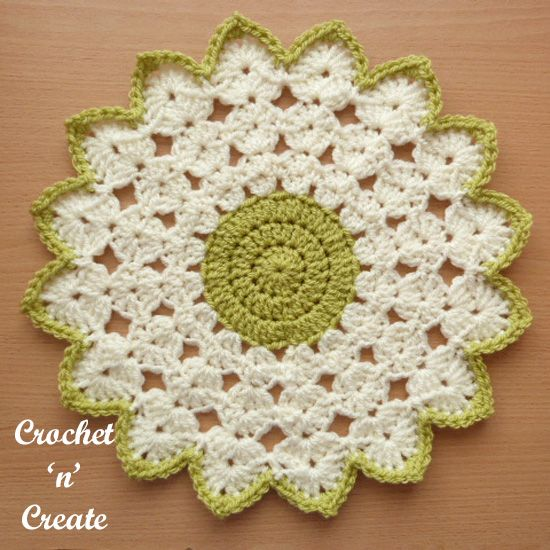 Decorate your tables and furniture with this pretty crochet round doily, it's an easy design to make using just 2 stitches, I have made it with a ......