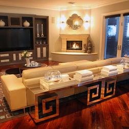 Living Room Idea Weird Corner Fireplace Only Sliding Doors As Windows