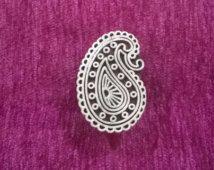 Flat30% korting (gebruik CODE30) Indiase paisley vorm hand gesneden houten stempel textiel stempel, aardewerk stempel, stempels van de stof, zeep stempel, tjaps